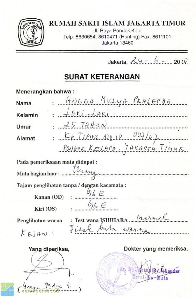 Contoh Surat Keterangan Dokter