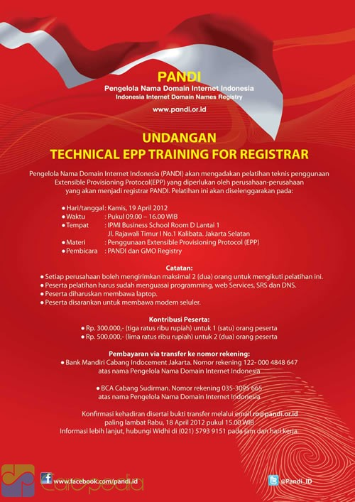 Contoh Undangan TECHNICAL EPP TRAINING FOR REGISTRAR