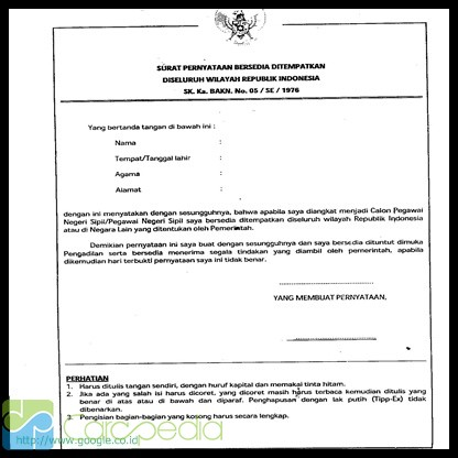 Contoh Surat Pernyataan Bersedia Ditempatkan Dimana Saja